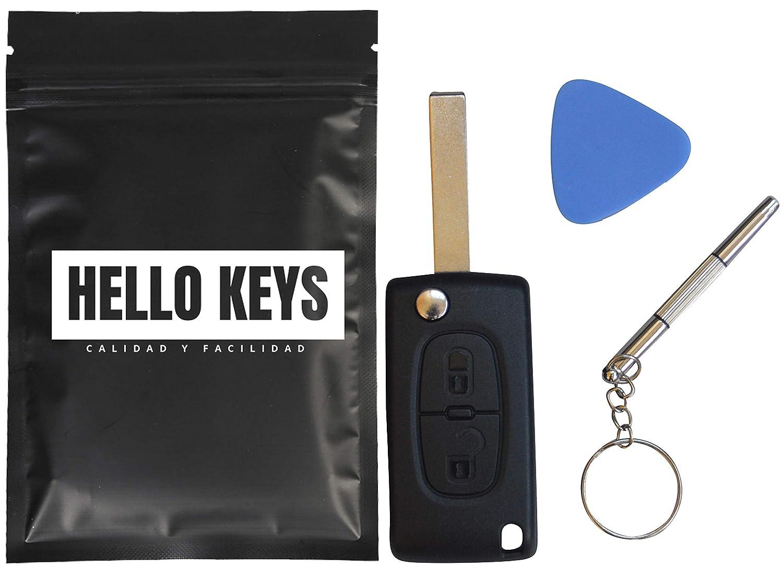 hello keys - 2 Botones Llave Carcasa del Mando Citroen C2 C3 C4 Picasso C5 C6 Peugeot 206 107 207 307 407