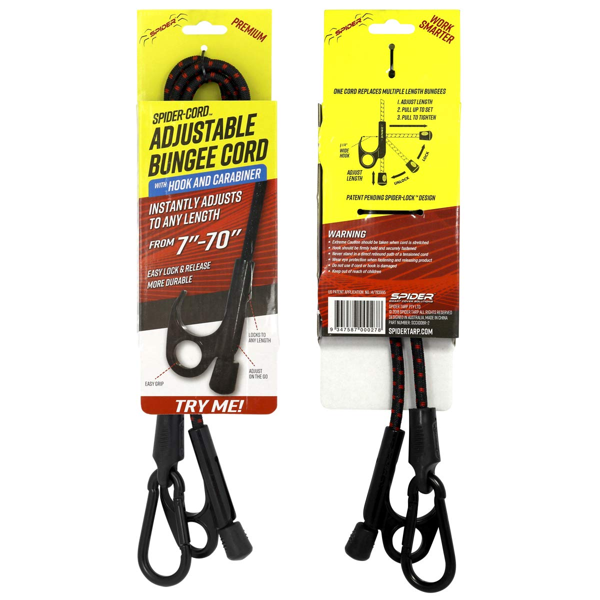 SPIDER Heavy-Duty Bungee Cords with Adjustable /& Locking Length with a Hook and Carabiner 2-Pack Patent Pending Tie-Down