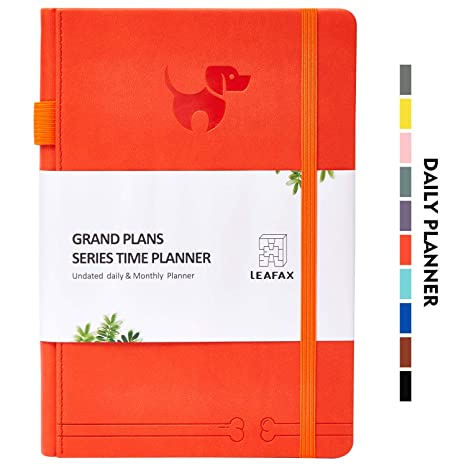 "Undated Daily Planner-Agenda Book, Hourly/Day/Weekly/Monthly Planner, Personal Organizer, to-Do List- 240 Pages 5.8""x8.2"" A5 - Leather Hardcover, ..."