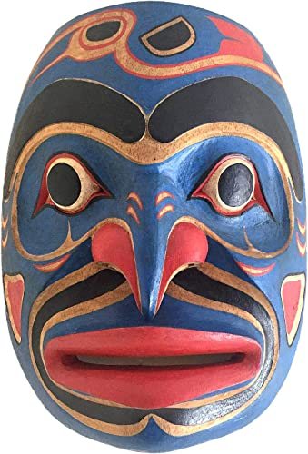 OMA Native American Wall Decor Art Blue Man Shaman Wall Mask Hand Crafted Solid Wood