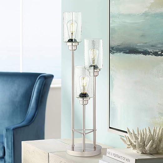 Amazon.com: Trio - Lámpara de mesa de acero cepillado, 3 ...