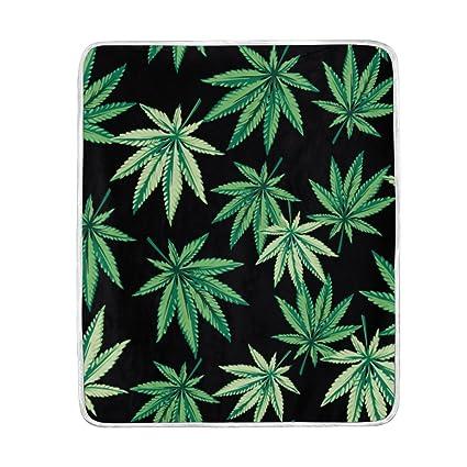 "Hoja de Marihuana Cannabis de poliéster de manta de microfibra 50 ""x 60"""