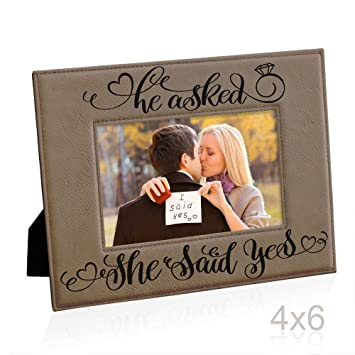 Amazoncom He Asked She Said Yes Engraved Leather Picture Frame