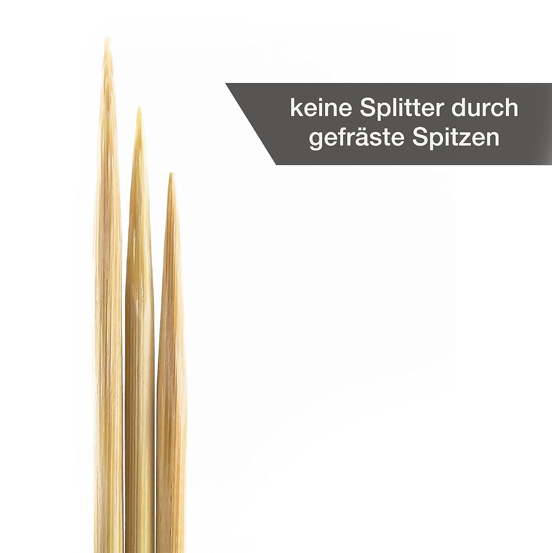 Nach LFGB Norm gepr/üft - 200 St/ück HEYNNA /® Schaschlikspie/ße Holz 30cm // /Ø3mm Grillspie/ße Holzspie/ße aus Bambus f/ür das Grillen und Kochen