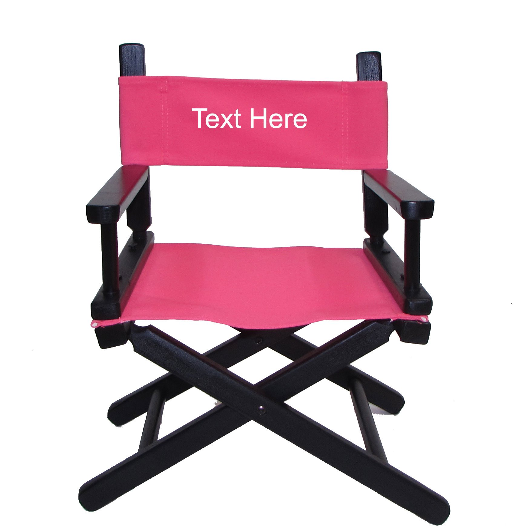PERSONALIZED IMPRINTED Black Frame Toddler's Directors Chair by Gold Medal - Pink Canvas by TLT