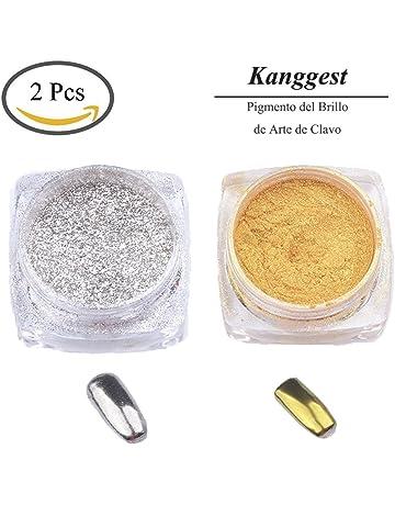 Kanggest 2Pcs Pigmento del Brillo de Arte de Clavo Efecto Espejo Brillante Manicura de Uñas de