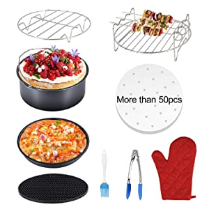 Air Fryer Accessories 9 Pcs for Gowise Phillips Cozyna Fits All 3.2QT - 5.8QT Air Fryer, 7 inches Deep Cake Barrel Pizza Pan