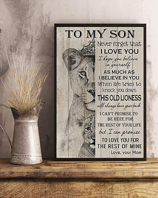 Home Decor Kid Room Decor To My Son Poster Lion Prince Canvas Son Gifts From Mom Gift for Kid To My Son Lion Canvas Print