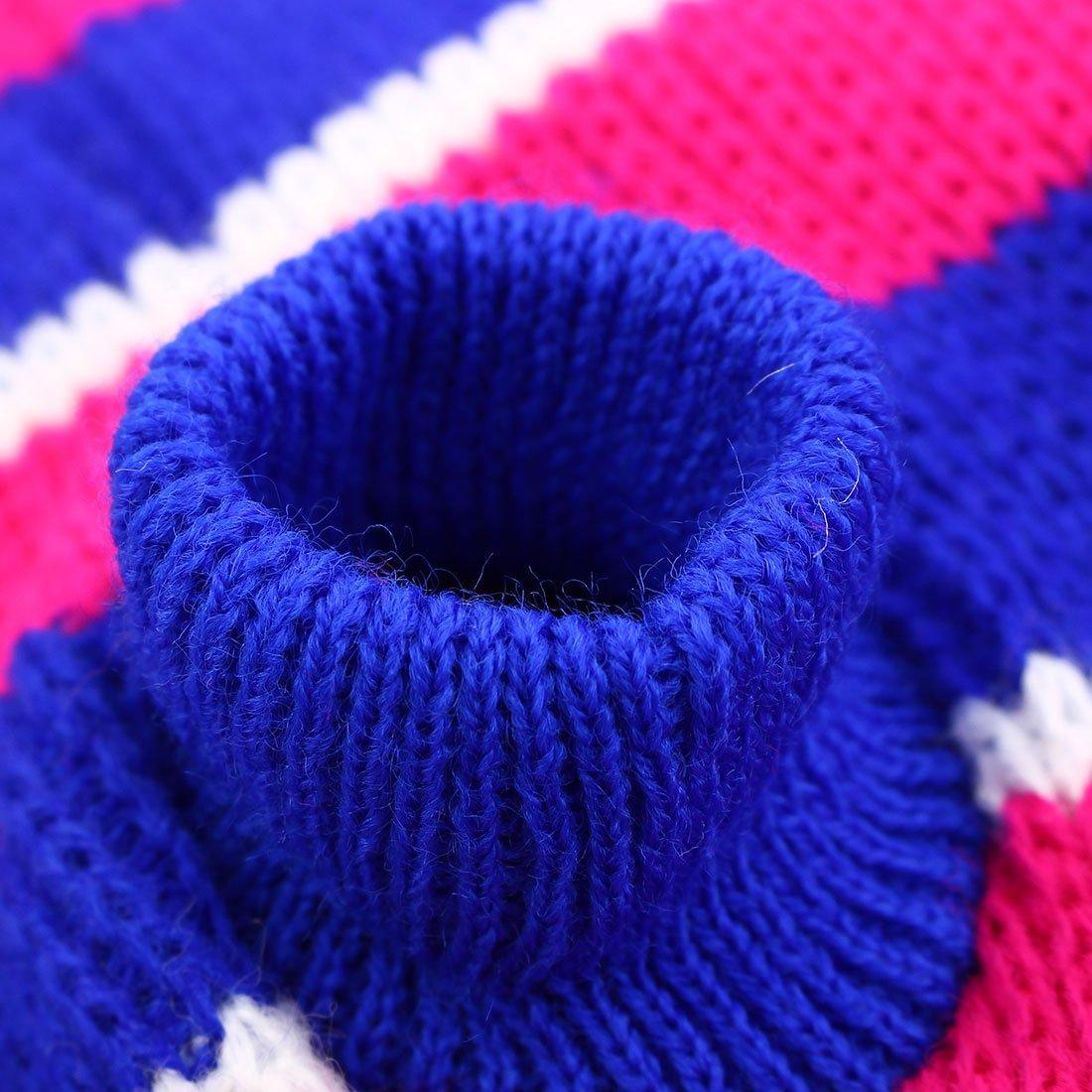 Amazon.com : eDealMax Patrón Raya de Lana Para mascotas de peluche de Punto de invierno Falda Caliente de la capa del suéter de la Chaqueta de ropa de la ...