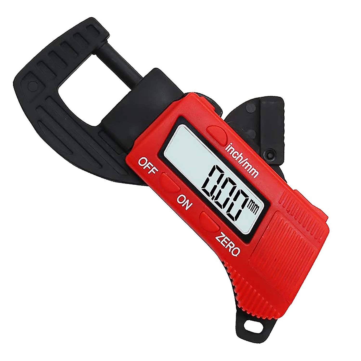 """SABLUE Portable High-Resolution Carbon Fiber Composite Digital Thickness Gauge to Display Thickness in Decimal Inches or Millimeters on Large 8mm LCD Ranging from 0.01mm//inch to 0.5/""""//12.7mm"""