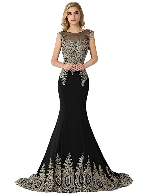 Amazon.com: MisShow Womens Lace Embroidery Maxi Mermaid Formal Evening Prom Dresses: Clothing