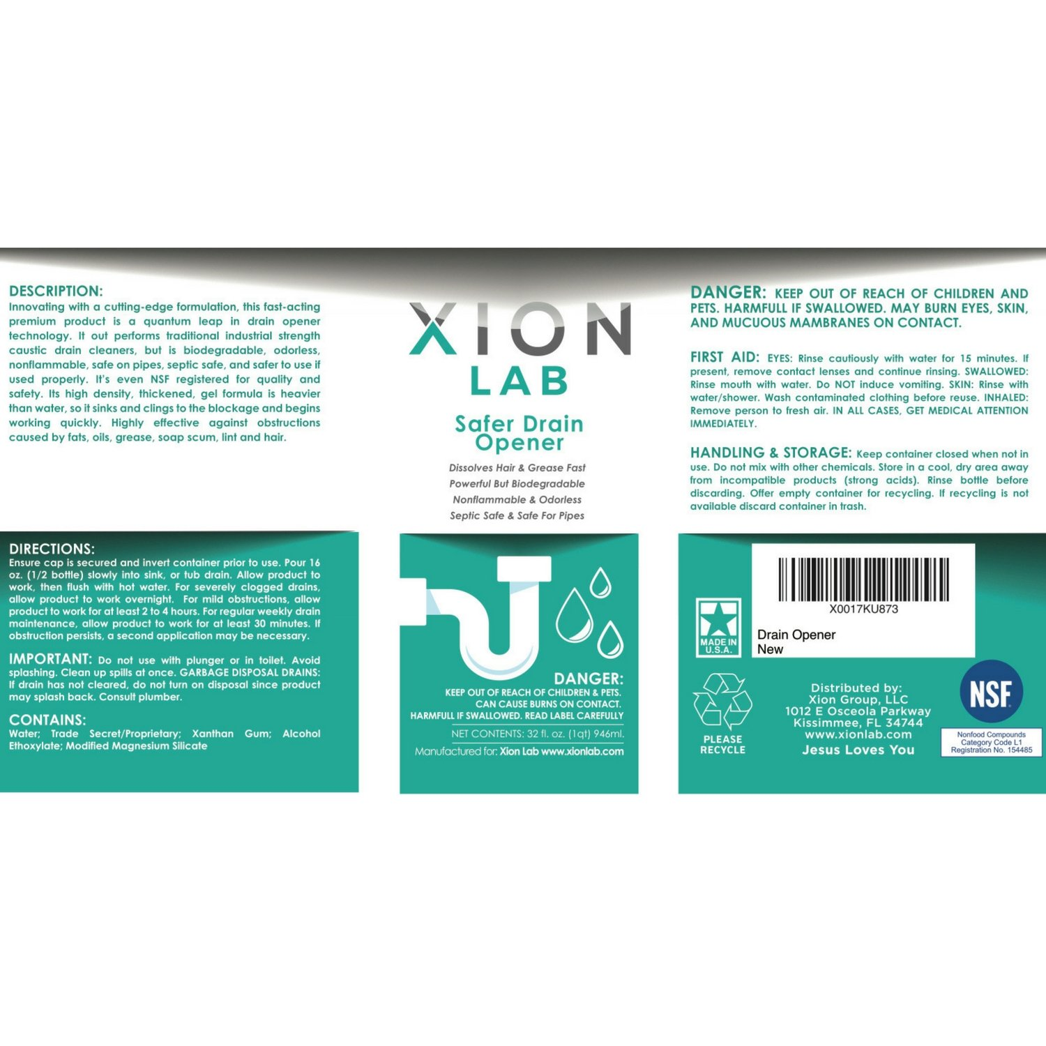 Xion Lab Safer Drain Opener ? Fast Liquid Drain Cleaner Hair Clog + ...