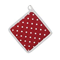 Homescapes - Pure Cotton Pot Holder - Polka Dot - Red White - 20 x 20 cm - Fully Coordinated Washable Kitchen Linen