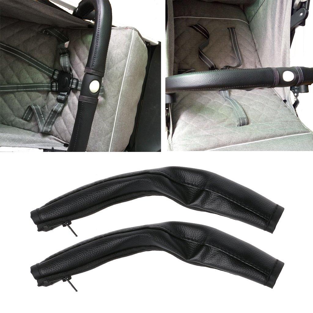 Brucelin 2 Pcs Kinderwagen Griffschutz Kinderwagen Griffbezug Leder Schwarz Kinderwagen Zubeh/ör