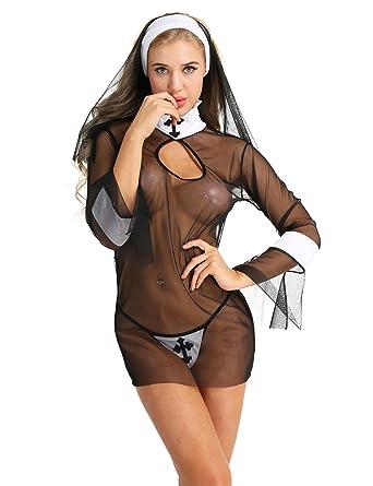 38130be82 iEFiEL Women s Adult Nun Halloween Cosplay Costume Dress Headwear and  G-String