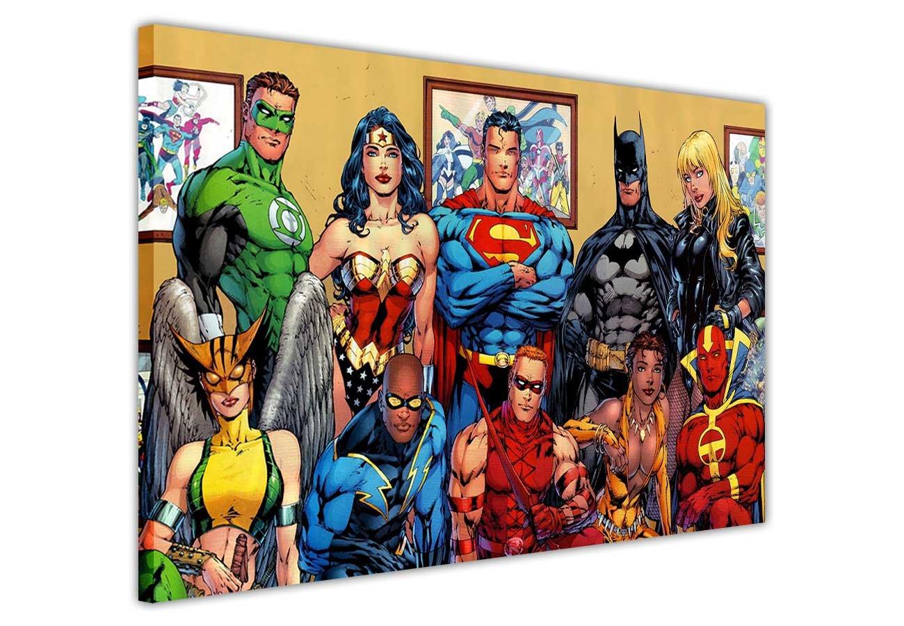 """Justice League  Familienfoto von DC Comics' Superhelden, Pop-Art Leinwandbild, mit Superhelden, Kunstdruck-Bild, Raumdekoration, Poster, Batman, Superman, Wonder Woman, canvas holz, 9- A0 - 40"
