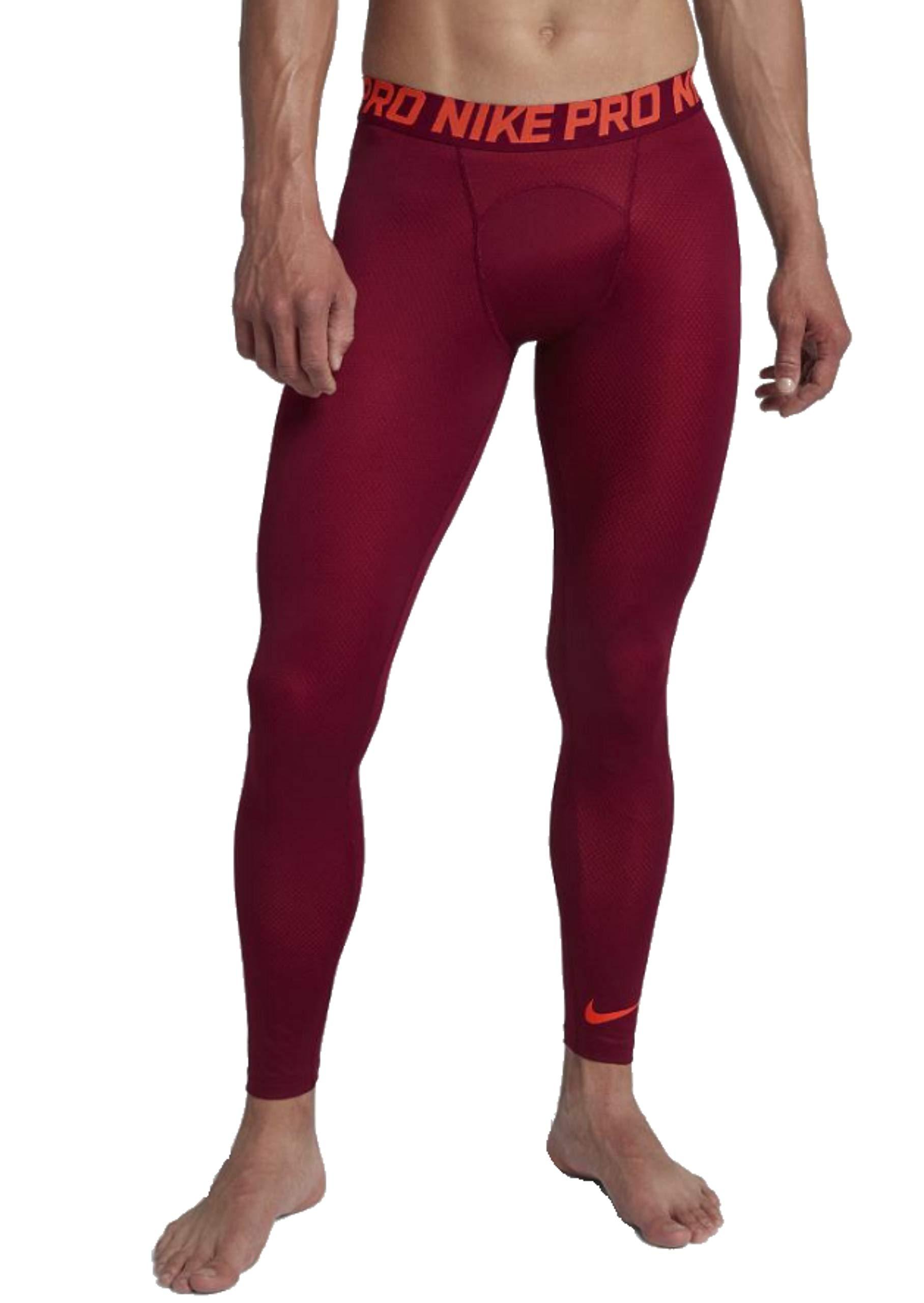 Nike Men's Pro Tights (Large, Crimson Orange/Marron)