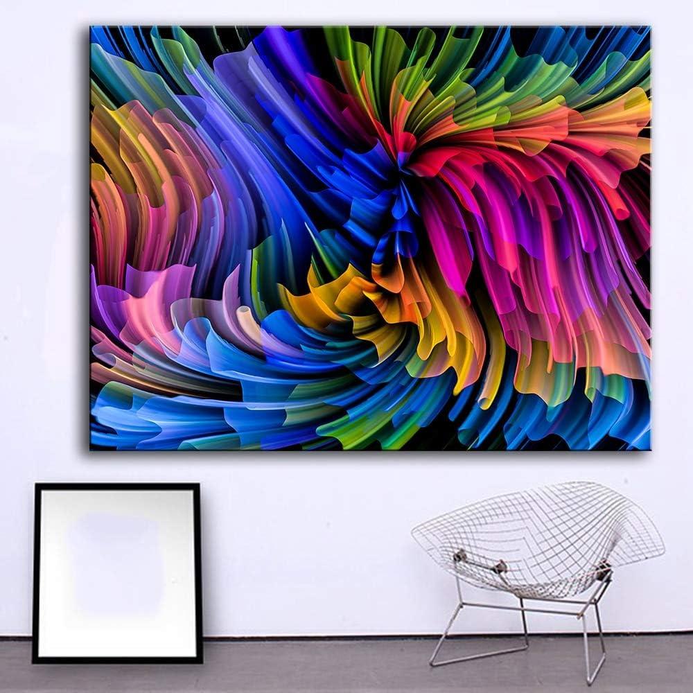 YuanMinglu Pintura sin Marco de la Sala de Estar con líneas de Colores sobre Lienzo, Pintura al óleo, Pintura Mural, Carteles e imágenes Impresas 75x100cm