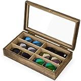 SRIWATANA Sunglasses Organizer for Women Men, 6 Slot Eyeglass Box Wood Case Glass Display Storage Eyewear Collector Tray…