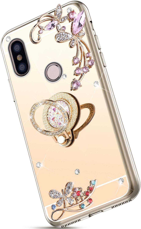 Saceebe Compatible avec Xiaomi Redmi S2 Coque Glitter Paillette Brillant Strass Diamant Bling Clear View Miroir Coque /Étui Silicone TPU Housse Protection avec Anneau Support,Or Rose