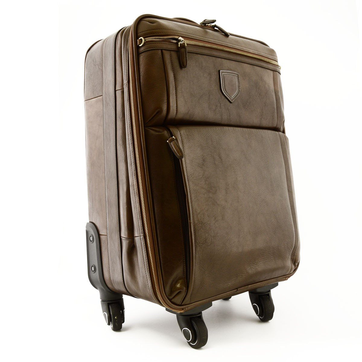 Made In Italy Genuine Leather Travel Trolley With 4 Multi Directional Wheels Color Dark Brown - Travel Bag B01FXSAU3K