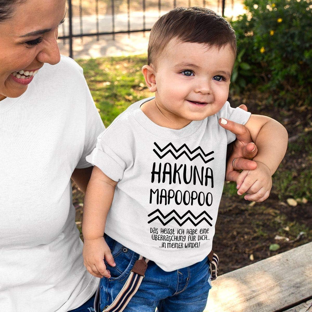 handbedruckt in Deutschland Mikalino Baby//Kinder T-Shirt mit Spruch f/ür Jungen M/ädchen Unisex Kurzarm Hakuna Mapoopoo