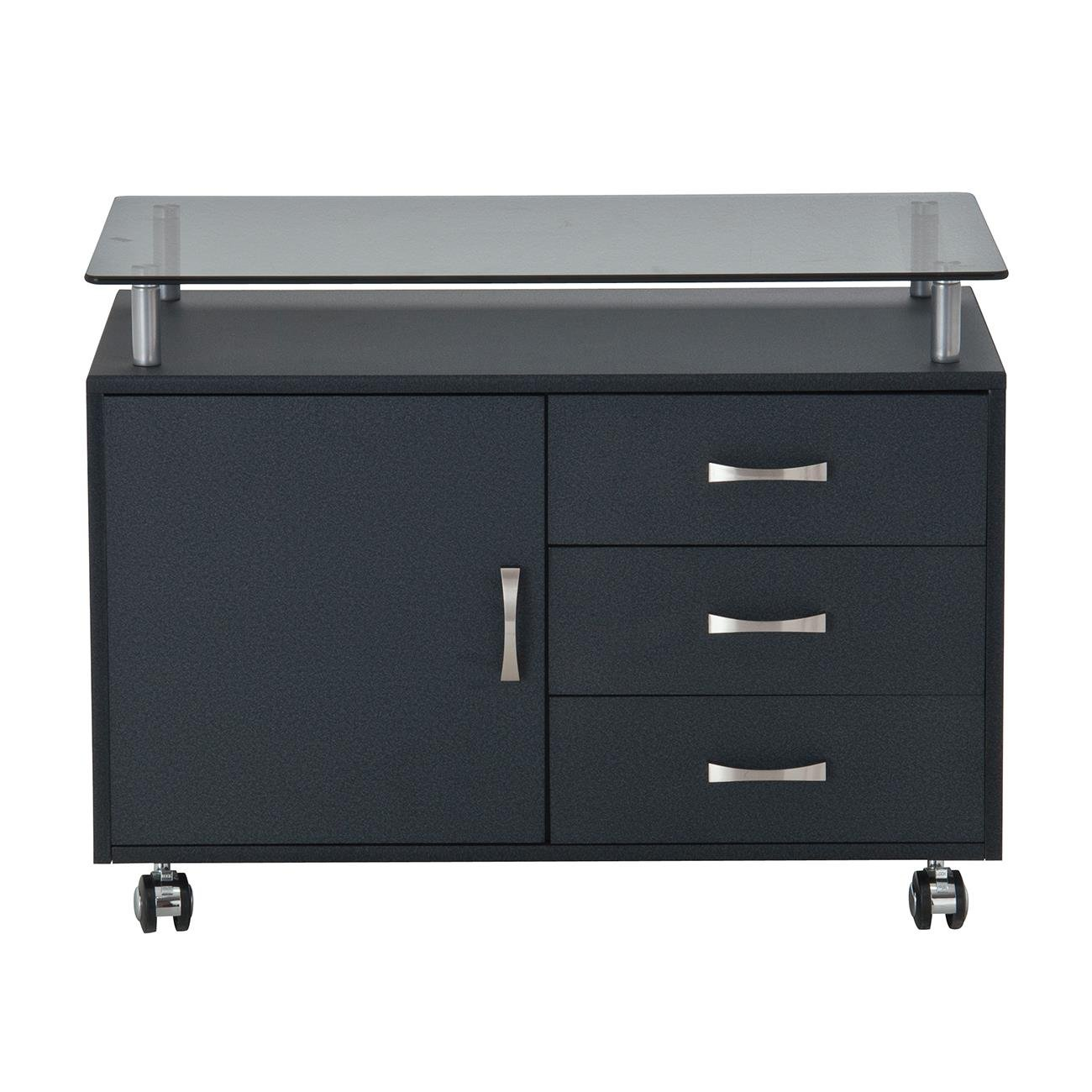 Rolling Storage Cabinet With Frosted Glass Top. Color: Graphite by Techni Mobili (Image #2)
