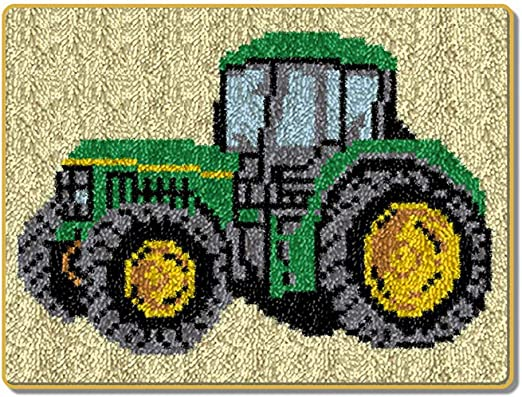 Latch Hook Kits Rug Green Tractor Pattern Sewing Kit Making Crafts DIY for Kids//Adults,Beige,5238cm//2015 in
