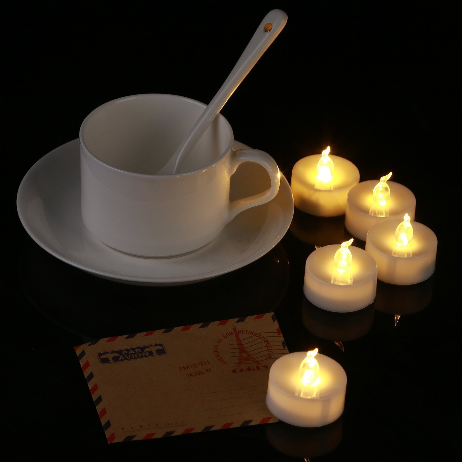 Homemory 24 PACK Warm White Battery LED Tea Lights, Flameless Flickering Tealight Candle, Dia 1.4'' Electric Fake Candle for Votive, Wedding, Party, Table, Dining room, Gift by Homemory (Image #3)