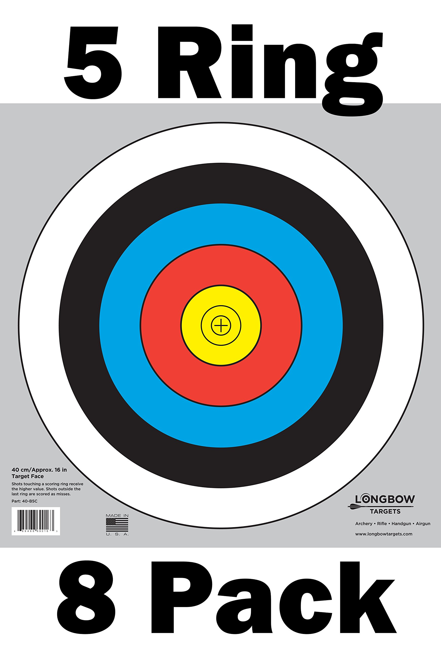 Archery 40cm & 80cm Targets by Longbow (8 Pack, 40cm/approx 17'' (5 Ring))