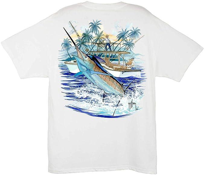 f19b66e28 Amazon.com: Guy Harvey Marlin And Boat 2 Pocket T-Shirt: Clothing