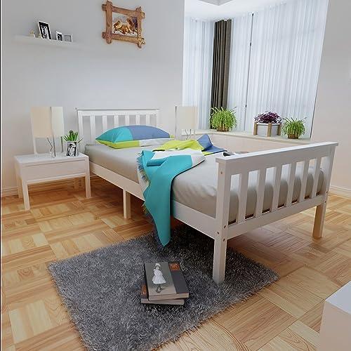 Anaelle Pandamoto Lit Simple Adult en Bois 1 Place Design Comfort 196x98cm Blanc