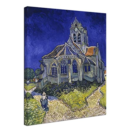 Wieco Art Large Giclee Canvas Prints Wall Art Church at Auvers by Vincent Van Gogh Famous Oil Paintings Reproduction Modern Classic Abstract Artwork Landscape Picture for Living Room Home Office Decor
