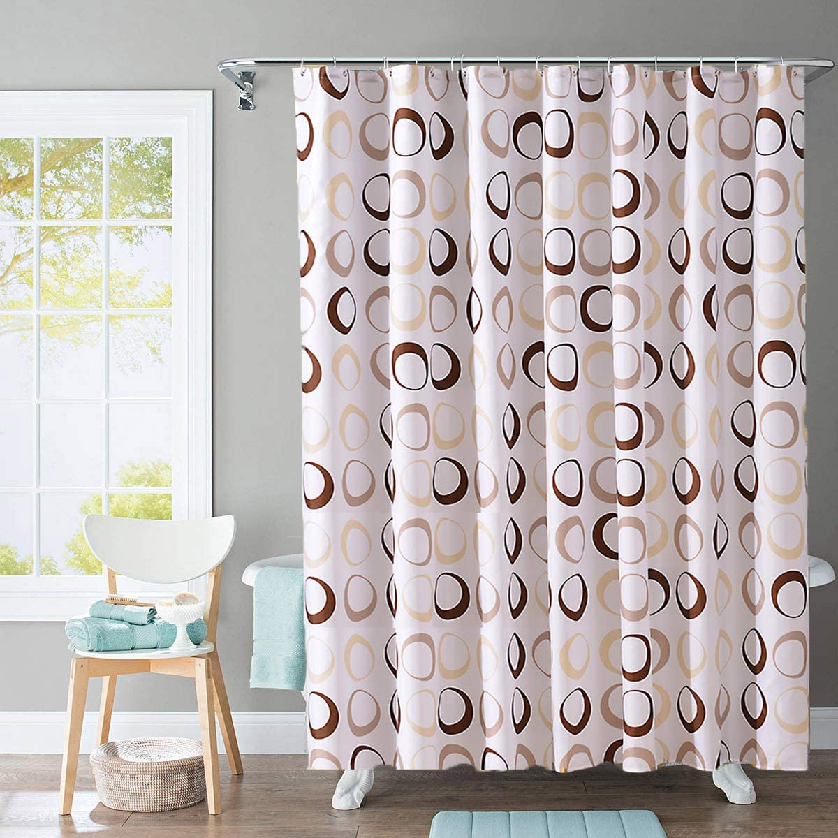 Tian Home Fabric Shower Curtain with 12 Hooks, Waterproof and Bottom's Weighted (Big Circle)