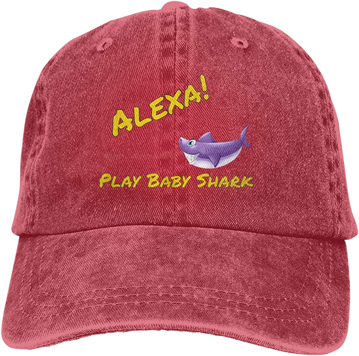 Men's Vintage Adjustable Dad-Hat Custom Alexa Play Baby Shark Cool Baseball Cap Hat, Red