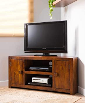 low priced 34df5 82330 Solid Wood Corner TV Cabinet - Large - Indian Mango ...