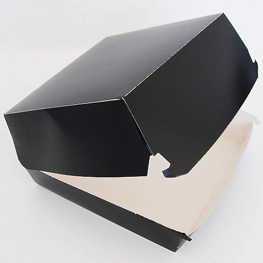 Extiff - Lote de 50 Cajas para Hamburguesa (cartón, 12,5 x 11 x 4,5 cm), Color Negro: Amazon.es: Hogar
