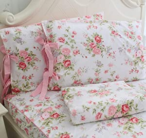 FADFAY Cotton Bed Sheet Set Rose Floral Bed Sheets 4-Piece Queen Size