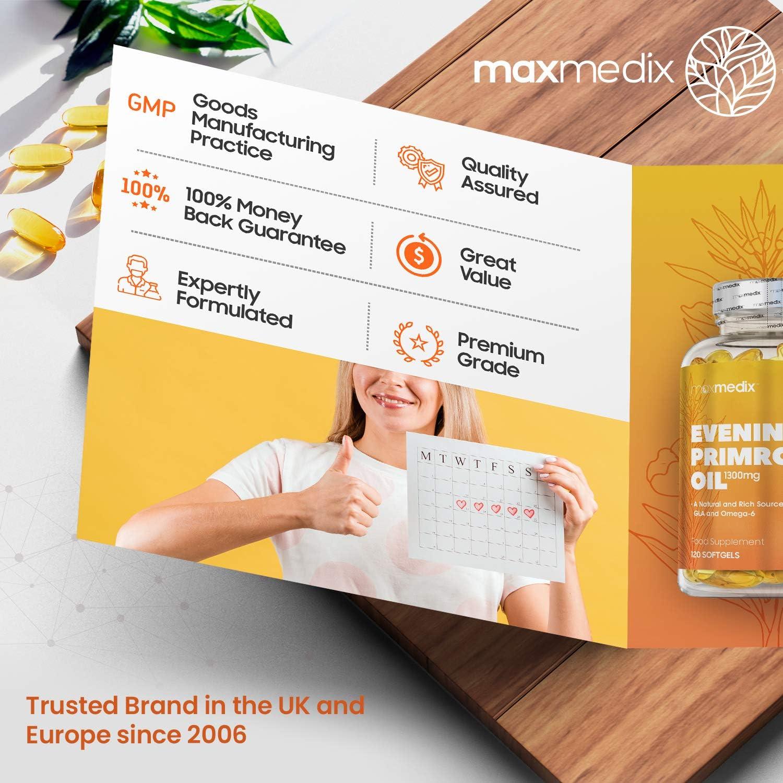 Aceite de Onagra 1300 mg 120 Cápsulas - Suplemento Natural de 4 Meses de Suministro, Fuente de Ácidos Grasos Omega 6 del Ácido Linoleico y Gamma ...