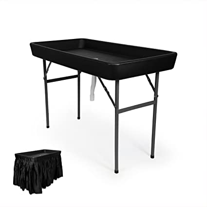 Exceptionnel 4 Foot Cooler Ice Table Party Ice Folding Table With Matching Skirt   Black
