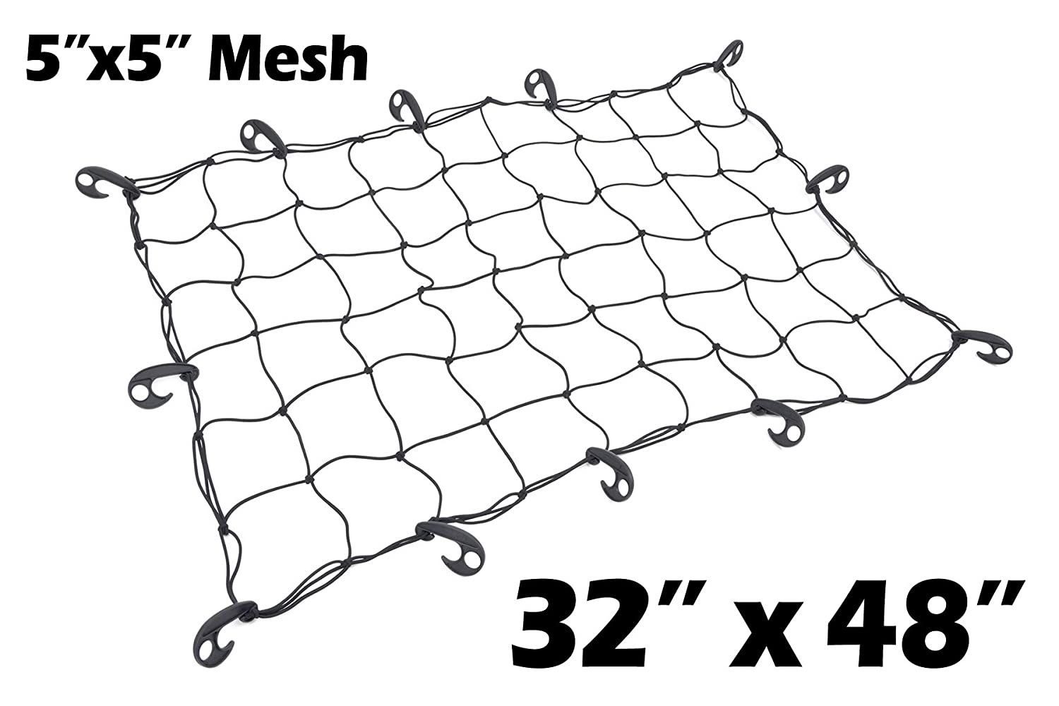 32' x 48' PowerTye Mfg Utility Elastic Cargo Net with 5'x5' Latex Bungee Mesh, 12 Large Adjustable Hooks, Black Net 4333199473