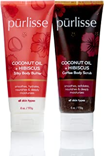 product image for purlisse Coconut Oil + Body Scrub & Butter Duo, Natural Body Scrub & Moisturizer Cream for All Skin Types - Daily Treatment Deeply Cleanses, Hydrates & Nourishes Skin (Coconut Oil + Hibiscus)