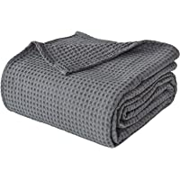 """PHF 100% Cotton Waffle Weave Blanket Twin Size 66"""" x 90"""" - Pre-Washed Soft Lightweight Breathable Blanket for All Season…"""