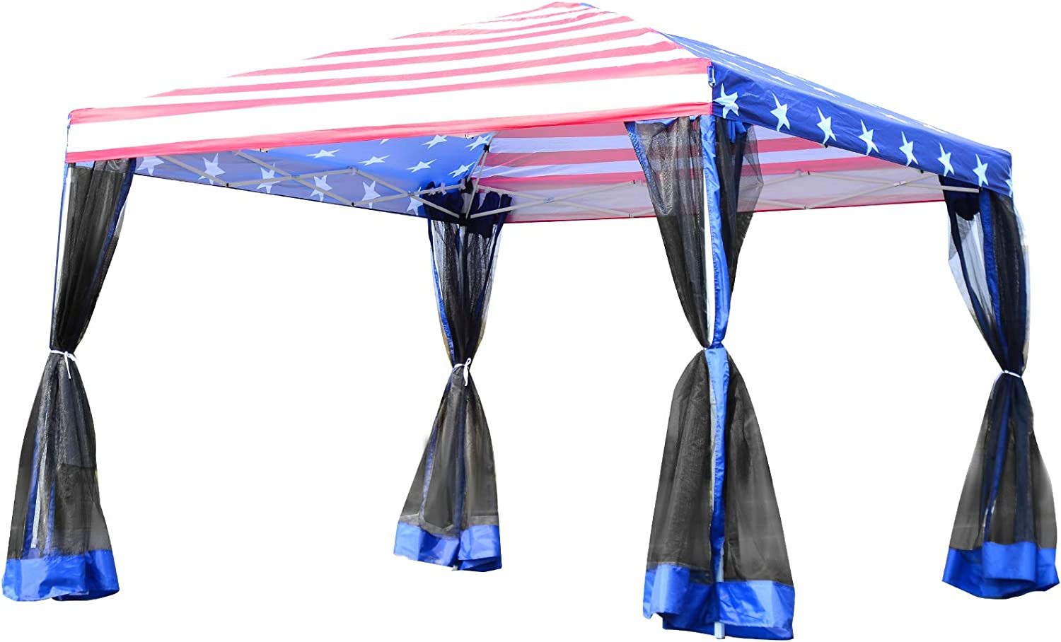 Outsunny 10' x 10' Pop-up Canopy Vendor Tent with Removeable Mesh Walls, Easy Setup Design & Travel Bag Included White American Flag