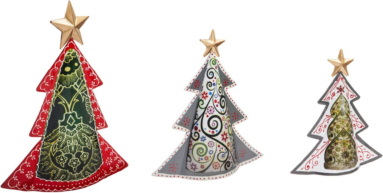 Amazon Com Cypress Home Beautiful Christmas Metal Christmas Tree Table Top Decor Set Of 3 13 X 4 X 15 Inches Indoor Outdoor Decoration For Homes Yards And Gardens Home Kitchen