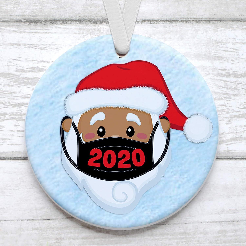 2020 Satin Christmas Year Ornament Amazon.com: Black Santa Wearing Mask 2020 Christmas Tree Ornament