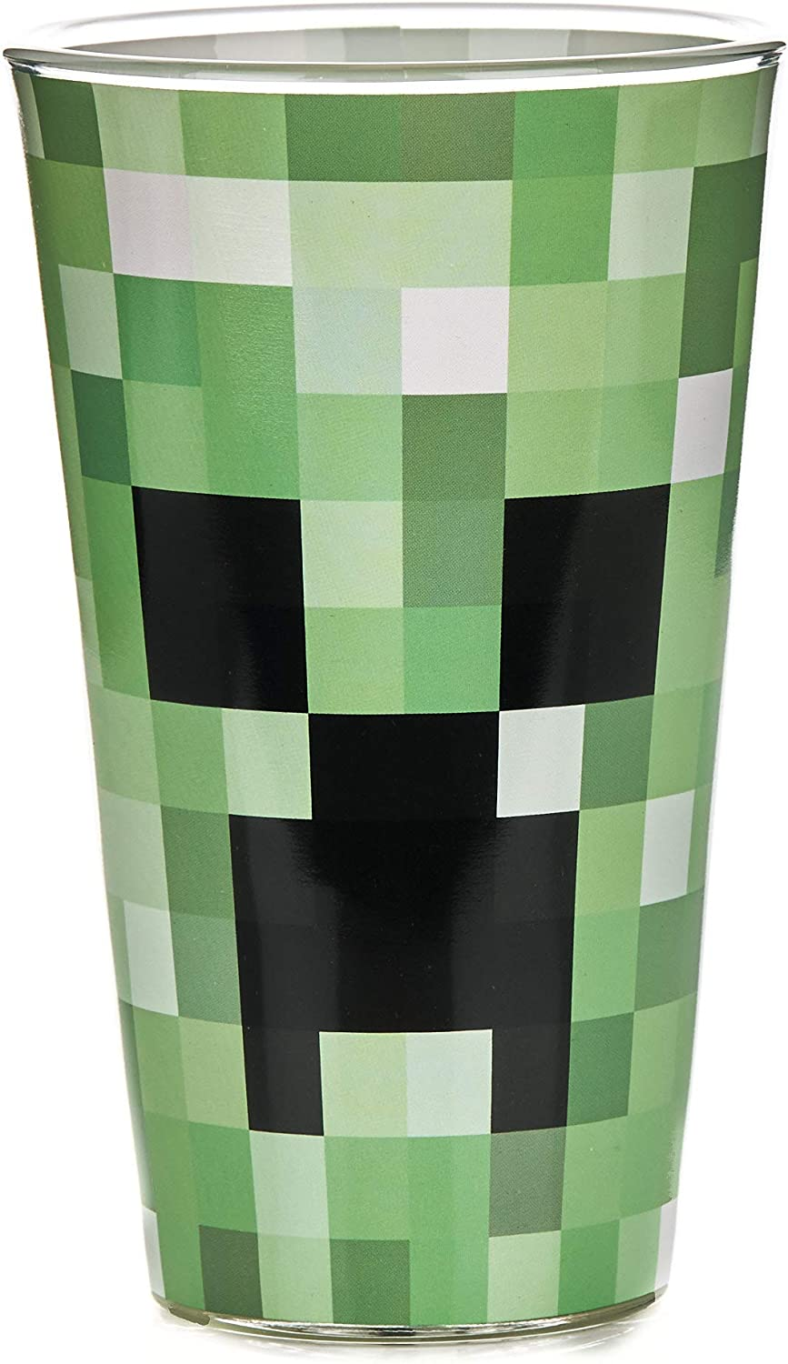 Minecraft Creeper Glass Tumbler 14 oz - Paladone Officially Licensed Merchandise