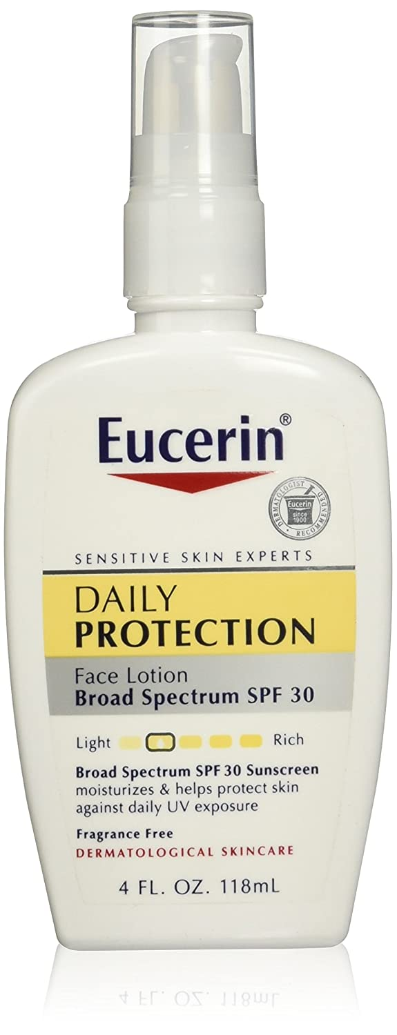 Eucerin Daily Protection Face Lotion - Broad Spectrum SPF 30 - Moisturizes and Protects Sensitive, Dry Skin - 4 fl. oz. Pump Bottle