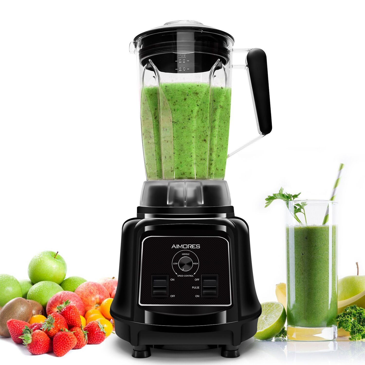 Commercial Blender AIMORES | High Speed 28,000 RPMs 75oz Smoothie Mixer Juicer | Sturdy Food Processor for Ice, Soup, Mincemeat, Pastry, Optimized 6 Sharp Blades, ETL/FDA Approved (Black) by Aimores