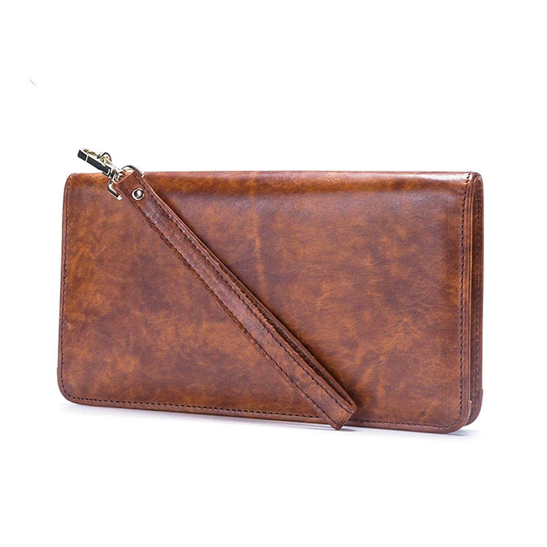 Gnzoe Genuine Leather Rectangle Long Wallet Zipper Wallet for Men